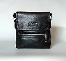 Мужская сумка через плечо Jeep Черная 21см х 19см Кожа PU 558 black Vsem