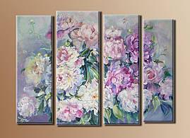 """Модульная картина на холсте из 4-х частей """"Букет цветов"""""""
