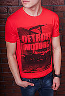 Футболка мужская красная с принтом. Мужская футболка с коротким рукавом. Футболка летняя. Чоловіча футболка