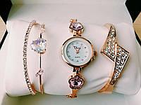 Шикарные наручные женские часы Disu сердце с ДВУМЯ  браслетами TyT