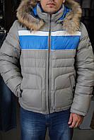 Пуховик мужской SnowImage SIDM-М128 СЕРО-СИНИЙ