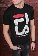 Футболка мужская черная в стиле FILA с принтом. Мужская футболка с коротким рукавом. Чоловіча футболка