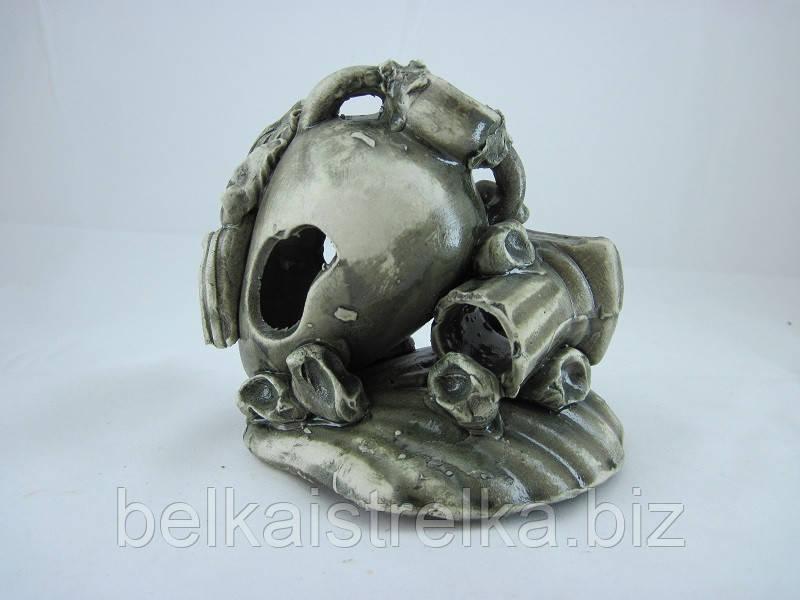 Кераміка для акваріума Амфора з колоною на черепашці, 14 див.