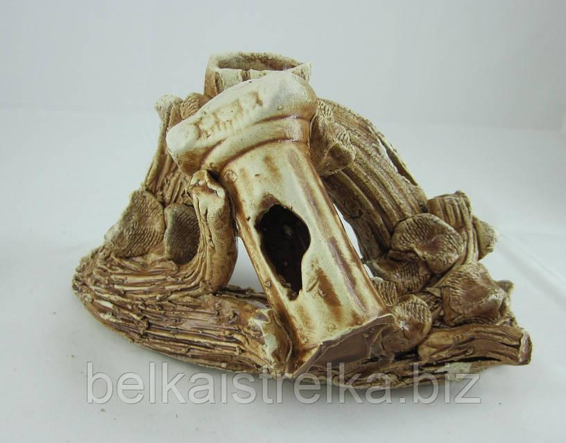 Керамика для аквариума Коряга с колонной, 20х12 см.