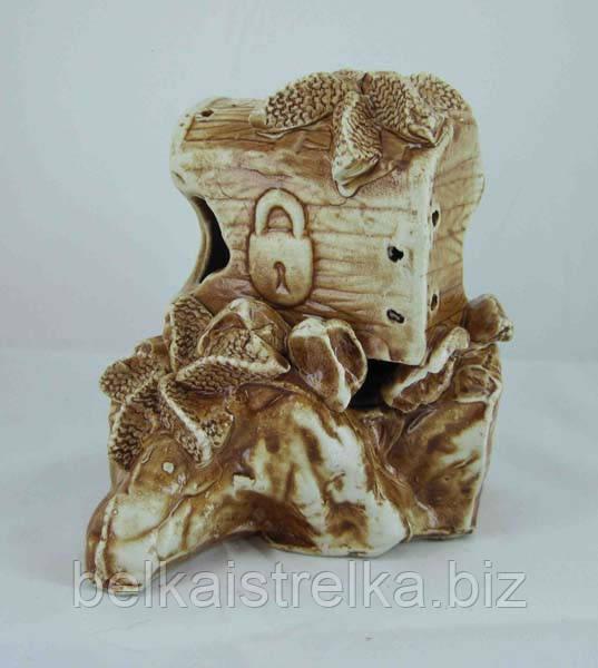 Керамика для аквариума Сундук на скале, 14х14 см.