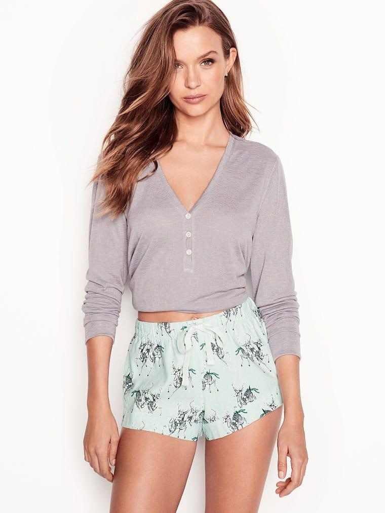 Victoria's Secret Пижама с Шортами Henley Flannel Short PJ р. XS, Серая с мятным