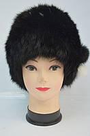 Кубанка женская из натурального меха кролика черная, фото 1