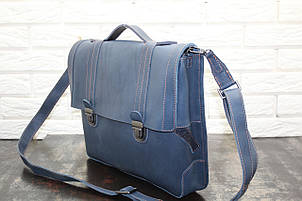 Портфель из натуральной кожи Синий  40106, фото 2