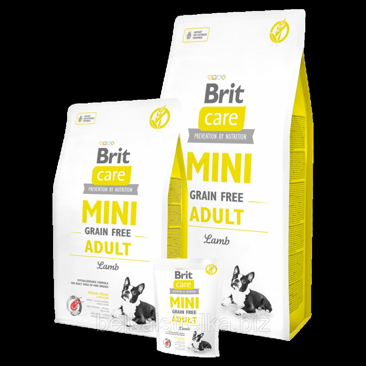 Сухой корм для взрослых собак мелких пород Brit Care GF Mini Adult Lamb 7 кг