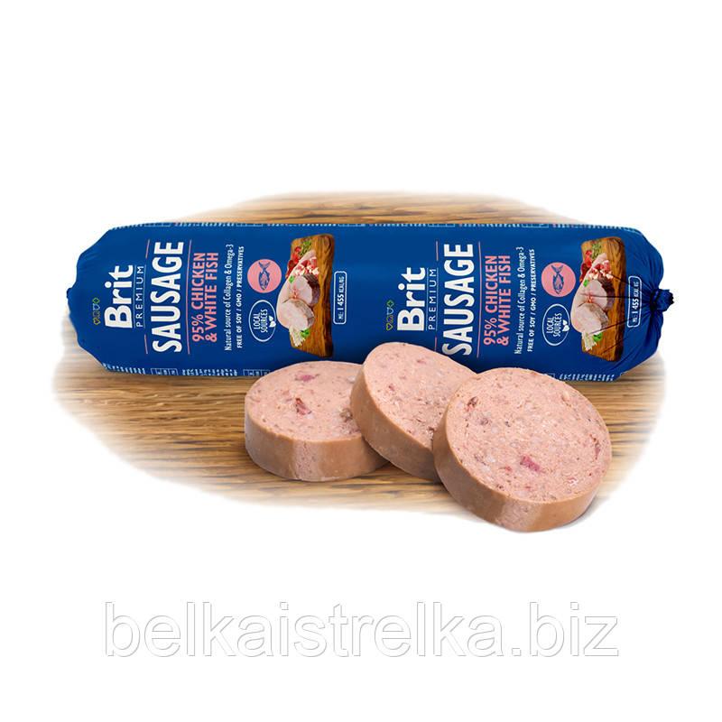 Колбаса для собак Brit Premium Dog Sausage с курицей и белой рыбой, 800 г