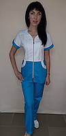 Медицинский женский костюм Жасмин на молнии короткий рукав хлопок