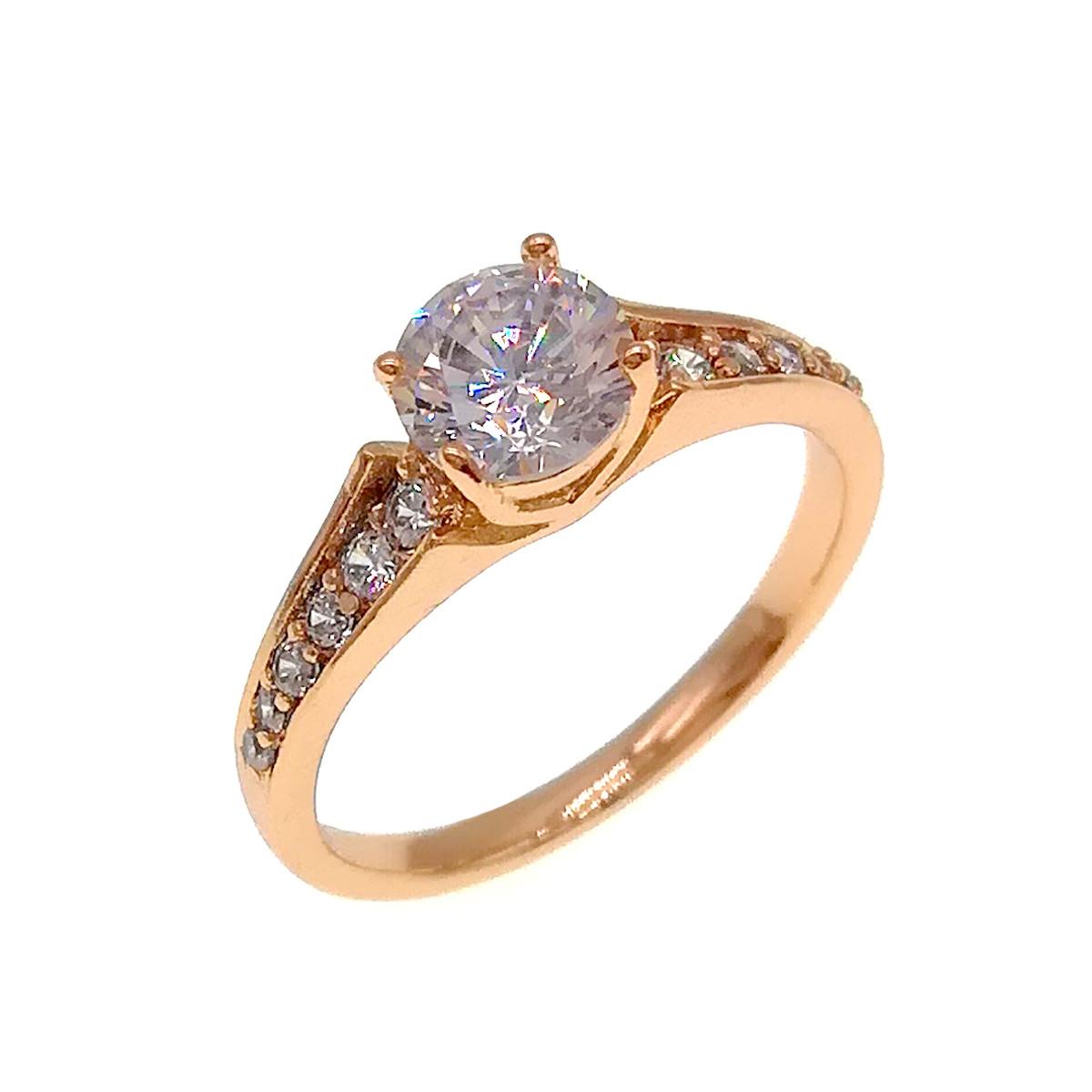 Кольцо Xuping из медицинского золота, белые фианиты, позолота 18K, 11884             (18)