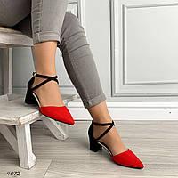 Женские замшевые туфли красно-черные на невысоком каблуке