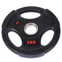 Млинці (диски) обгумовані з потрійним хватом d-51мм Life Fintess 5кг (чорний), фото 1