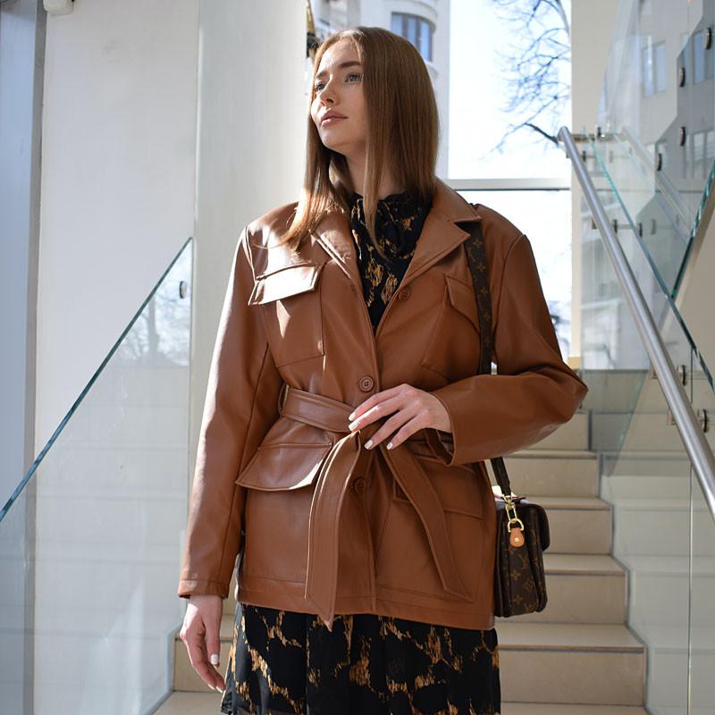 Куртка-пиджак с поясом эко-кожа