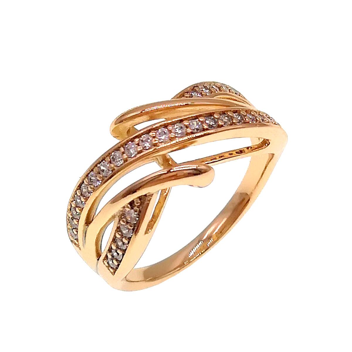 Кольцо Xuping из медицинского золота, белые фианиты, позолота 18K, 11880                         (19)
