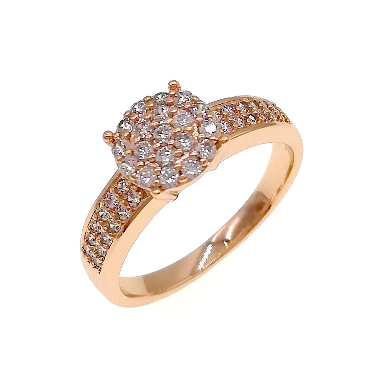 Кольцо Xuping из медицинского золота, белые фианиты, позолота 18K, 11881                         (17)