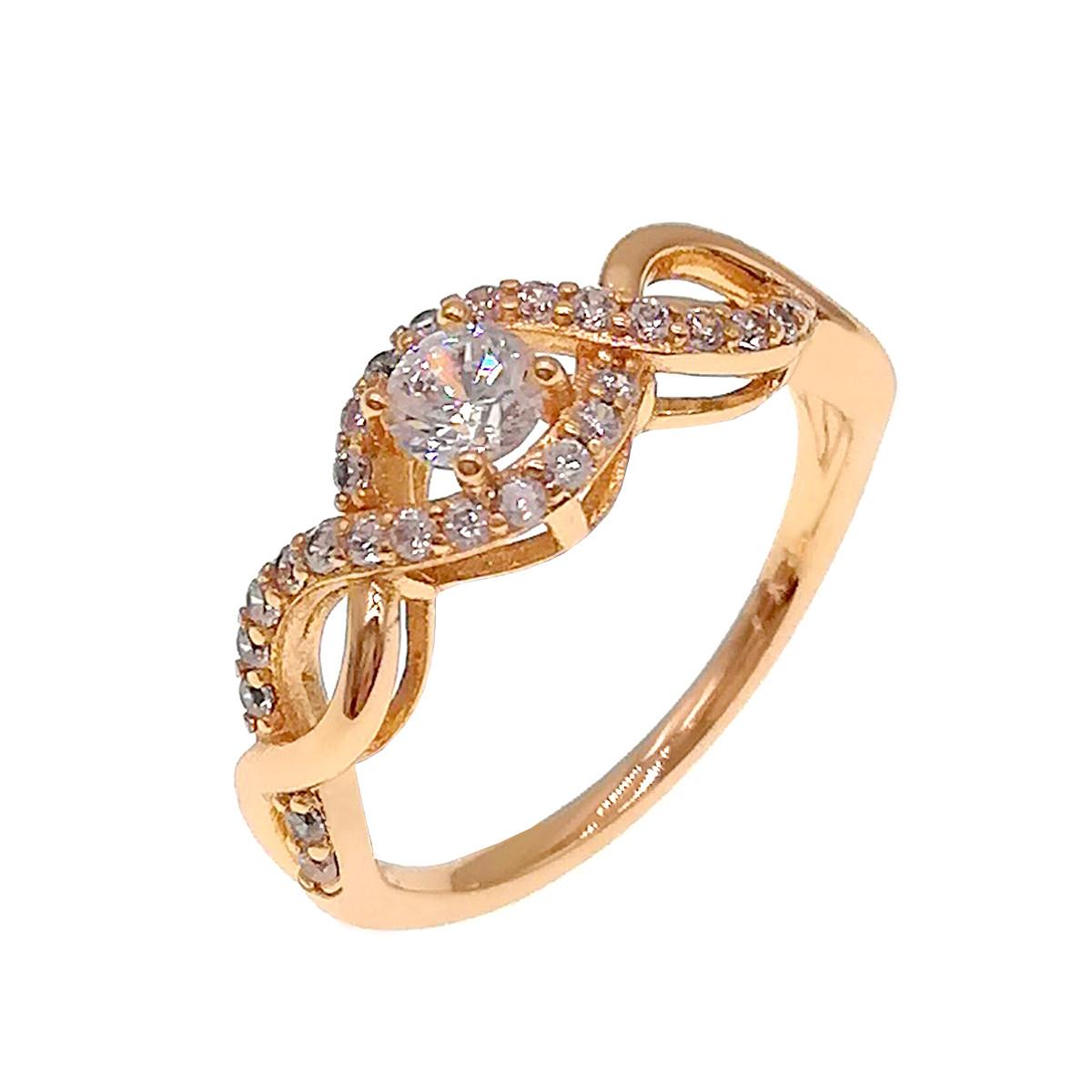 Кольцо Xuping из медицинского золота, белые фианиты, позолота 18K, 11882                   (19)