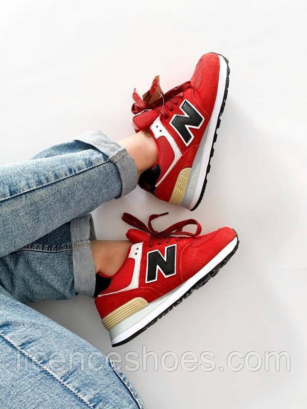 Подростковые кроссовки New Balance 574  Red / Black / White