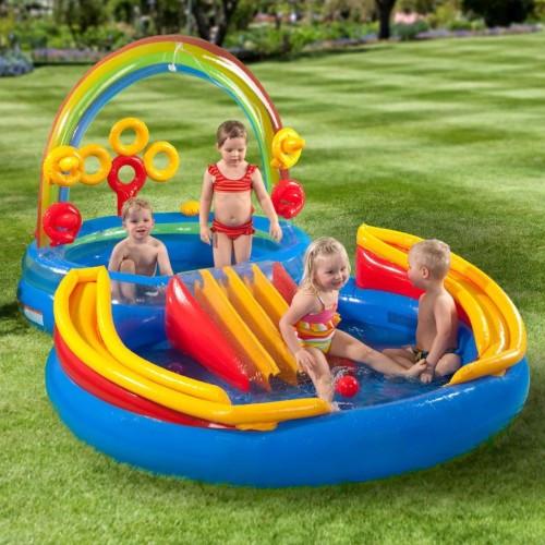 Дитячий надувний ігровий центр Веселка басейн Intex 57453 297 см х 193 см х 135 см