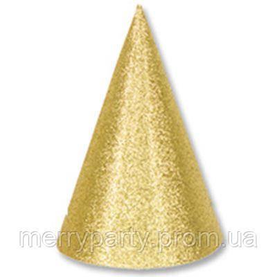 6 шт./уп. Набор колпачков блеск золото 15 см