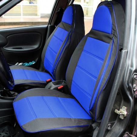 Чехлы на сиденья Рено Кангу (Renault Kangoo) (универсальные, автоткань, пилот) Черно-бежевый