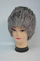 Женская шапка-кубанка из меха кролика серого окраса, фото 1