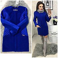 Пальто утепленное, арт. 799,  синий (электрик)