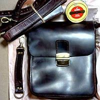 Кожаная мужская сумка через плечо 22*21*8.Ручная🖐️ работа, сумка мессенджер