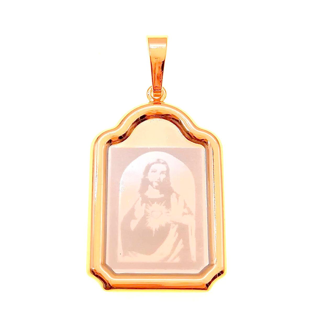 "Иконка Xuping ""Пресвятое Сердце Иисуса Христа"" из медицинского золота, позолота 18K + родий, 42454       (1)"