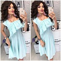 Платье короткое, в полосочку ,летнее с воланом, модель 104, цвет светлая мята