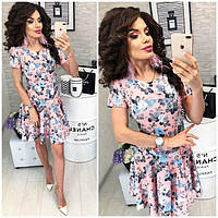 Платье летнее ,короткое, модель 103, цветочный принт на розовом фоне