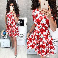Платье летнее ,короткое, модель 103, принт красный цветок на белом фоне
