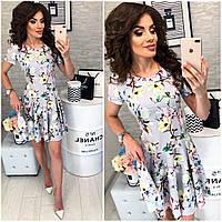 Платье летнее ,короткое, модель 103,  принт разноцветные цветы на светло-сером фоне