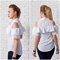 Блуза арт. 904 с двойным рюшем белая