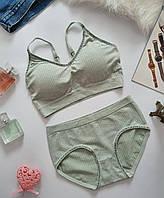 Женское спортивное нижнее белье, топик +трусики слип , размер S-M цвет мятний