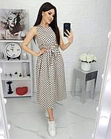 Летнее платье в горошек светло-бежевое 823