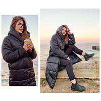 Пальто пуховик одеяло зима OVERSIZE с капюшоном арт. М521 черный