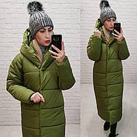 Пальто пуховик одеяло зима OVERSIZE с капюшоном арт. М521 фисташка