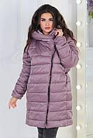 Куртка одеяло деми oversize батал арт M522 сливовый беж