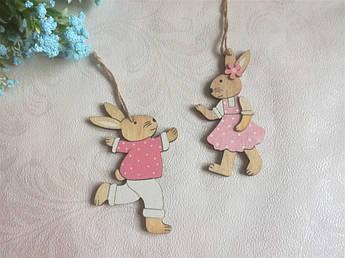 Великодній Декор , рожеві кролики. 2 шт