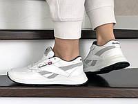 Белые кожаные кроссовки Reebok (подростковые, женские, демисезонные, натуральная кожа)