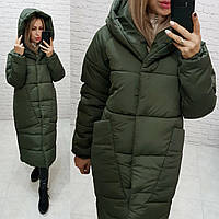 Пуховик длинный зима 2020 в стиле одеяло M500 тёмно оливковый / зелёный хаки
