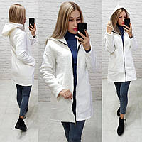 Пальто короткое букле с капюшоном без подкладки на молнии осень-весна арт.1144 белое / белго цвета / белый