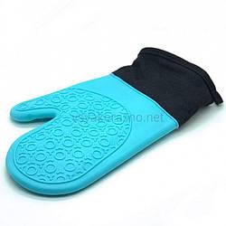 Рукавица-прихватка силиконовая с текстильным манжетом / Рукавиця-прихватка силіконова (голубой)