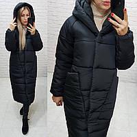 Куртка кокон длинная зимняя 2020 в стиле одеяло M500 черная / черного цвета / черный