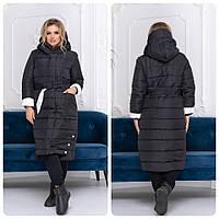 Пальто одеяло зима на молнии + кнопки матовое арт. M032 чёрное / чёрного цвета