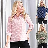 Р 44-48 Женская блузка- рубашка в горошек 21274, фото 1