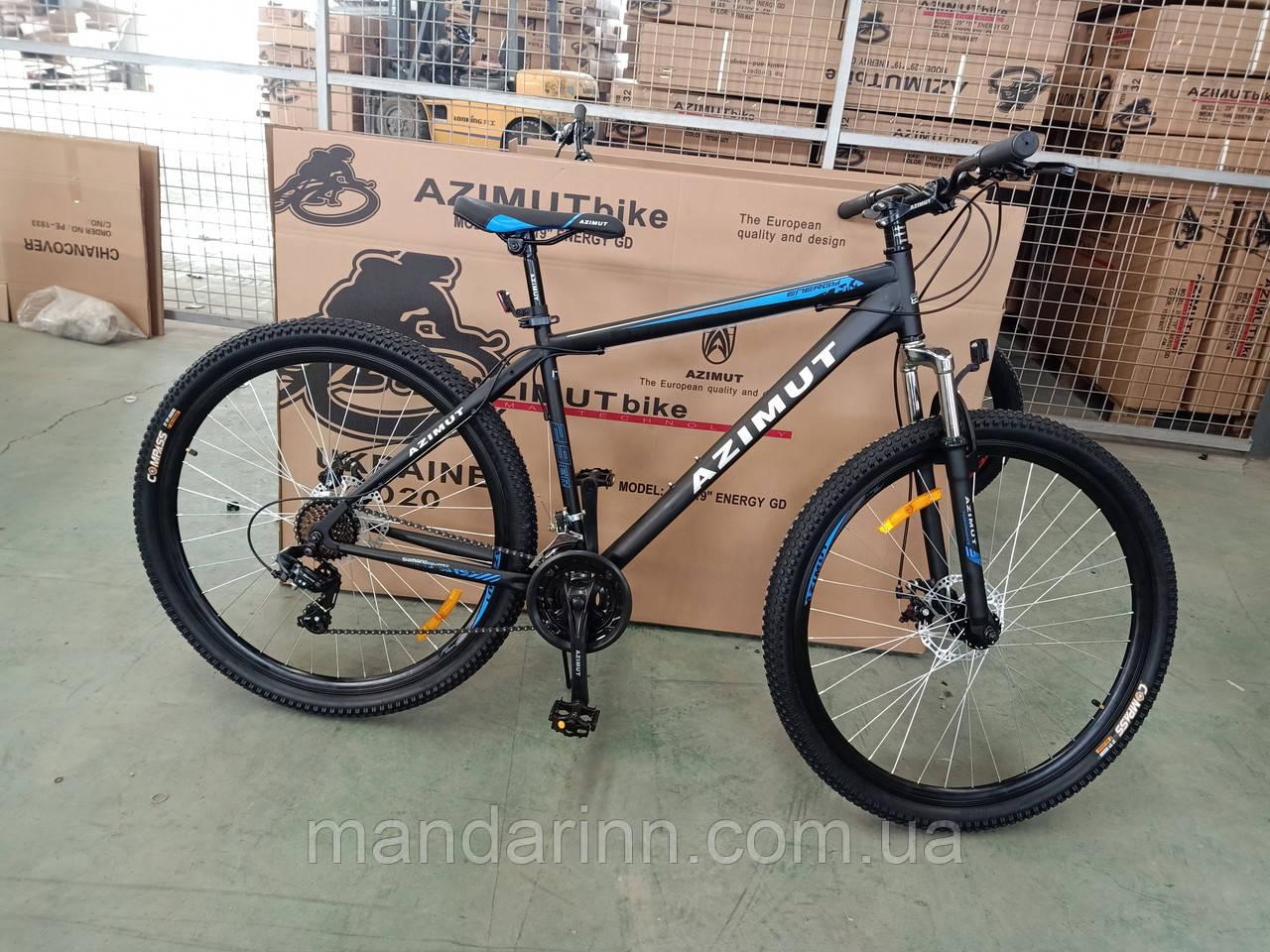 """Горный велосипед 29 дюймов Azimut Energy. Рама  21"""" Дисковые тормоза. Черно-Синий . Шимано"""