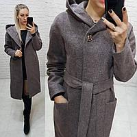 Женское пальто зима с капюшоном кашемировое арт. 176 меланж (цвет 6) темная пудра / мокко / серо-коричневый